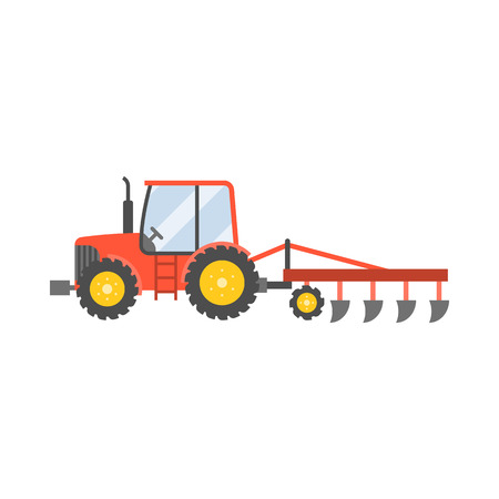plow: red tractor with plow for planting crops icon isolated on white background,flat design vector illustration