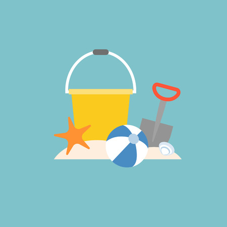 beach toys, pail, shovel, starfish and beach ball with bucket, flat design Illustration