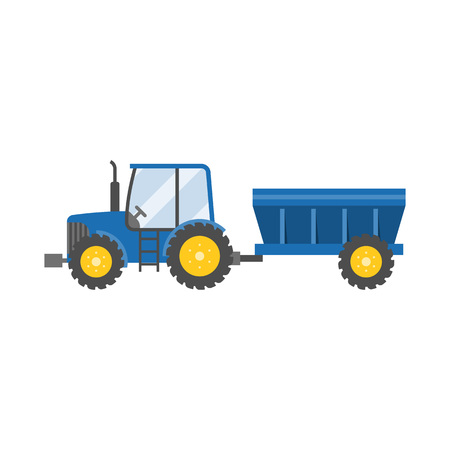 tillage: blue tractor with tank for transportation grain icon isolated on white background,flat design vector illustration