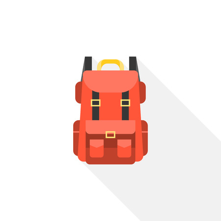 Red camping backpack icon, flat design vector with long shadow Illustration