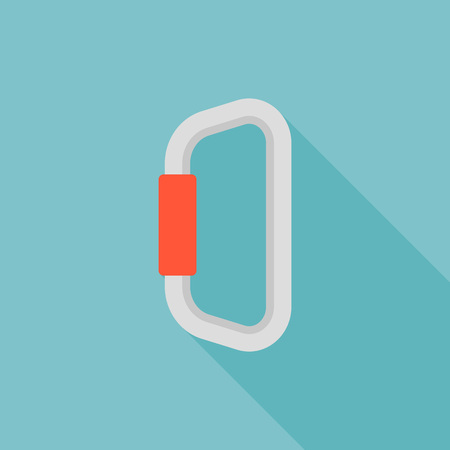 Carabiner hiking equipment icon, flat design with long shadow