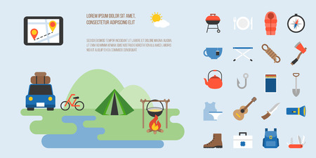 knive: Info graphic of camping, hiking, mountaineering activity, flat design vector icon and elements
