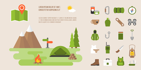 Info graphic of camping, hiking, mountaineering activity, flat design vector icon and elements