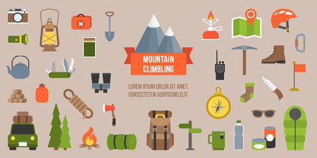 matchbox: Mountain climbing equipments pictogram, icon and elements in flat design