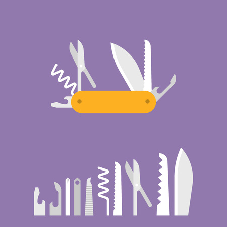 Multifunctional pocket knife icon and set of multitool equipment for camping, hiking, flat design