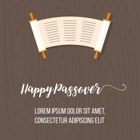 Happy passover poster with torah scroll on wooden background, flat design