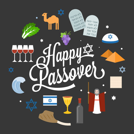 seder plate: Happy passover poster pictogram with moses, pyramid, typographic font and element, flat design