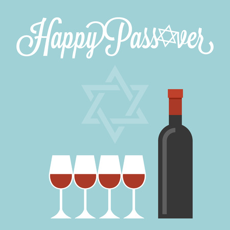 kosher: Happy passover poster with wine bottle and four glasses, flat design