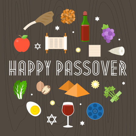 Happy passover illustration with icon and element such as seder plate, pyramid and torah