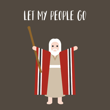Moses standing for passover and let my people go typographic, for passover poster, flat design Vectores