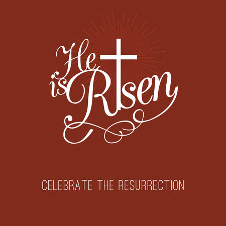 he: He is risen and cross, typographic design for easter and celebrate the resurrection