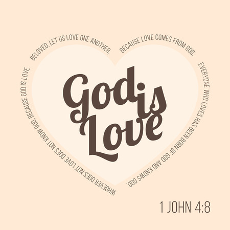 Bible verse for evangelist and valentine, John 4 8 god is love typographic in heart shape Stock Illustratie