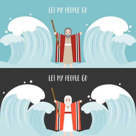miraculous: Moses separate the sea in exodus, flat design vector