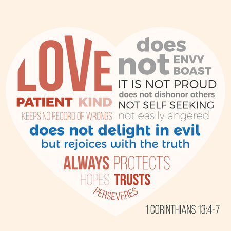 Bible verse for evangelist, 1 corinthians 13 4-7 love is patient Stock Illustratie