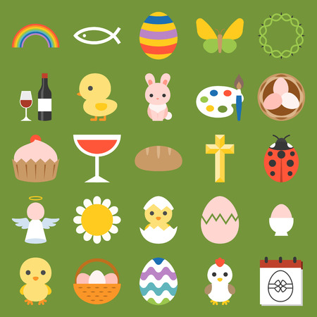 easter and spring icon and elements, flat design vector Illustration