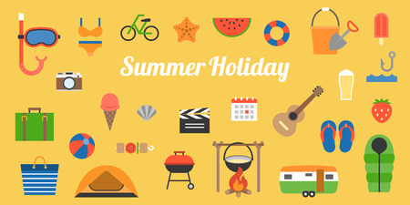 fire and ice: big set of summer holiday activities icon and elements such as camp fire, fishing, travel at beach and sea, flat design