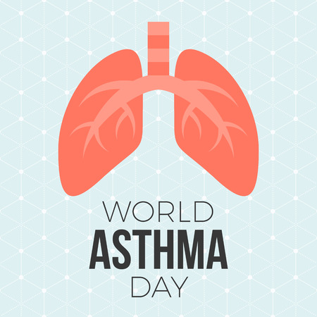 bronchial asthma: Lung illustration vector andWorld asthma day poster with hexagon graphic background, flat design Illustration