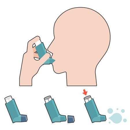 asthma inhaler: Patient use inhaler for asthma information illustration, flat design Illustration