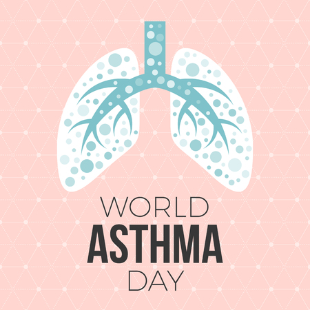 Lung illustration vector andWorld asthma day poster with hexagon graphic background, flat design  イラスト・ベクター素材