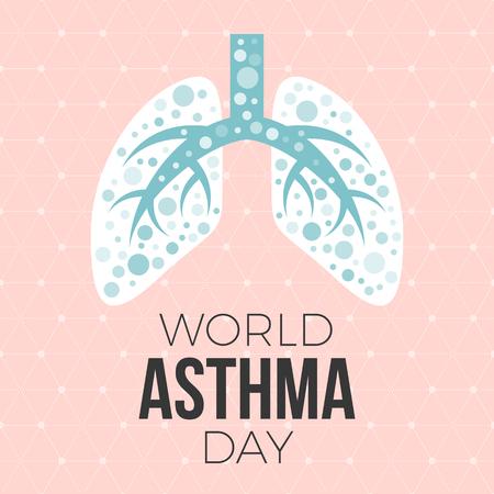 Lunge Illustration Vektor und Welt Asthma Tag Poster mit Hexagon Grafik Hintergrund, flache Design Standard-Bild - 74304256