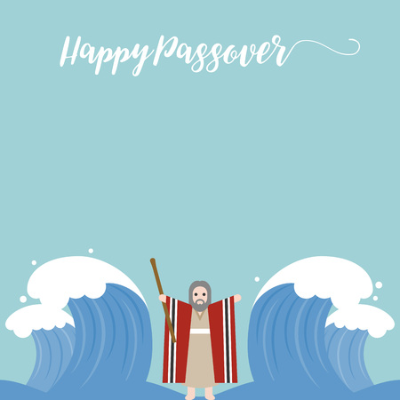 parting the sea: happy passover with seder plate, wine, matzah on brown background, flat design vector