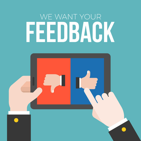 We want your feedback concept, business hand give feedback on tablet with like and dislike button