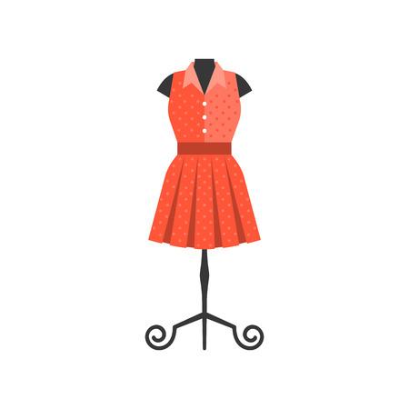 Red dress in black mannequin for tailor and boutique shop, flat design vector Illustration
