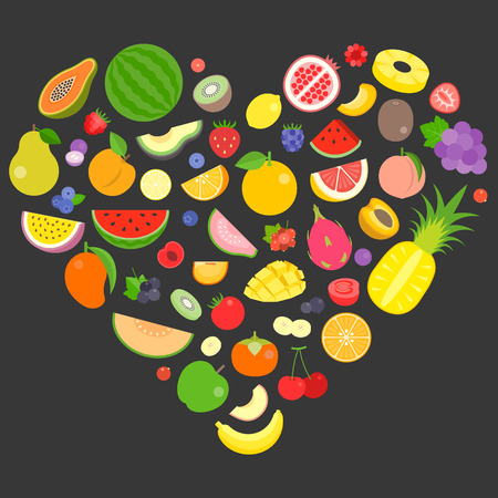 colourful fruits and berry vector arrange in heart shape.