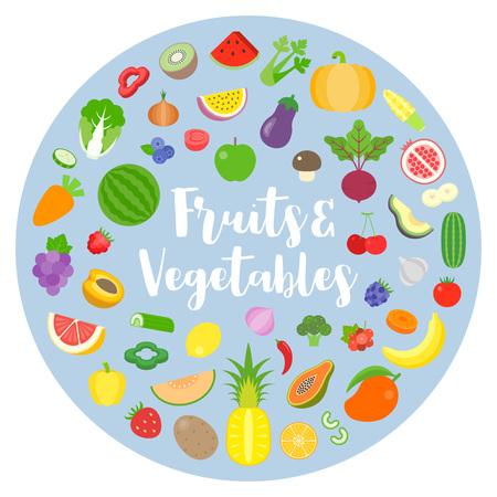 fruits and vegetables arrange in circle shape design for banner, backdrop