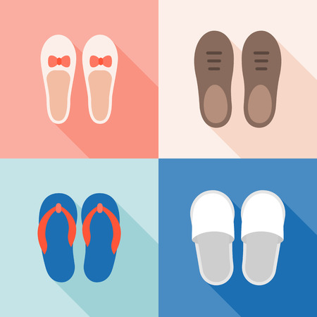 Set of shoes icon, for male, female, children and elderly, flat design vector