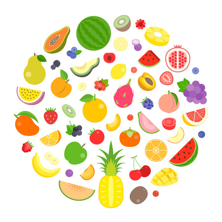 colourful fruits and berry vector arrange in circle shape. Иллюстрация
