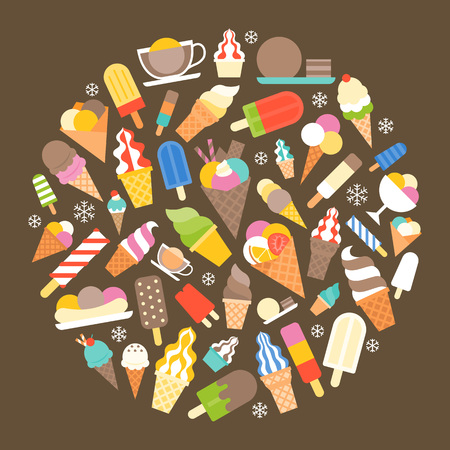 Seamless ice cream in circle shape, soft serve and popsicle for wrapping paper, banner