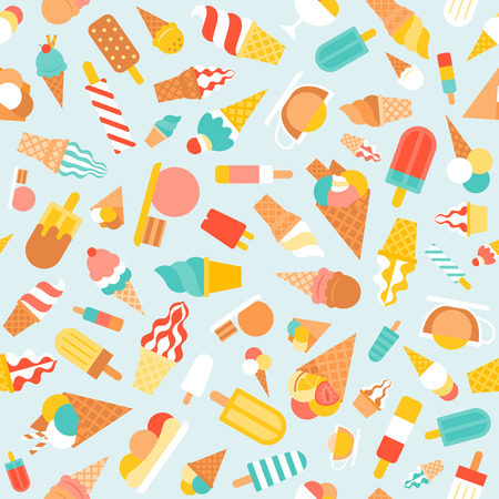 Seamless pattern ice cream, soft serve and popsicle for wrapping paper, banner
