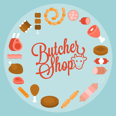 Butchery product icon such as sausage, ham, pepperoni arrange in circle shape with butcher shop headline, flat design Illustration