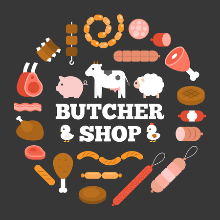 Butcher shop headline and product icon such as sausage, ham, pepperoni and animal arrange in circle shape, flat design Illustration