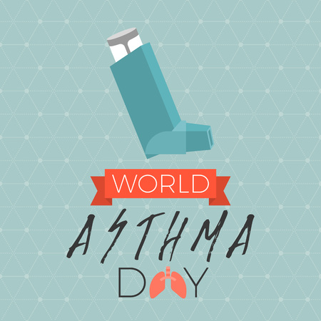 World asthma day poster with inhaler spray icon on hexagon background, flat design