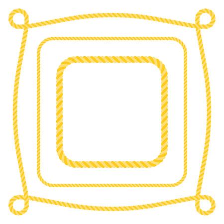 Set of square frame rope, flat design vector Illustration
