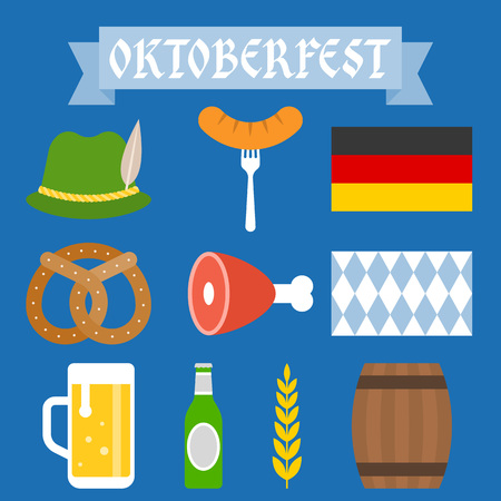 Oktoberfest icon and elements, flat design Illustration