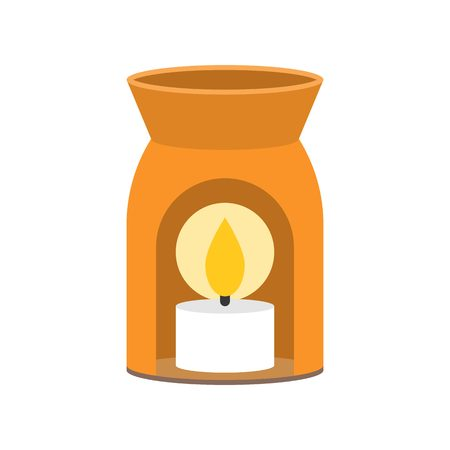 scented candle: Aroma lamp and scented candle icon for spa, flat design
