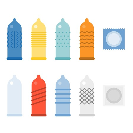 Condom collecties iconen set, plat ontwerp Stock Illustratie