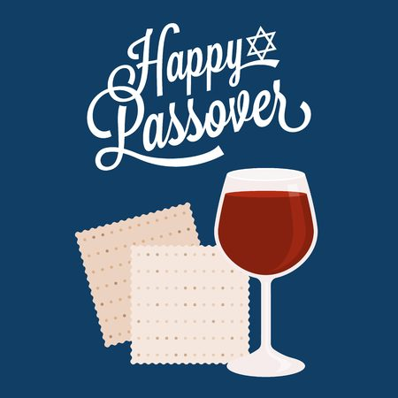 Happy passover with star of david, wine and matzah crackers, flat design Illustration