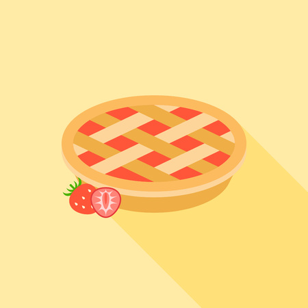 ilustration: Strawberry pie with strawberries, flat design