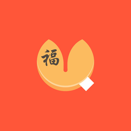 Fortune cookie and Chinese alphabet fu meaning luck on red background, flat design vector