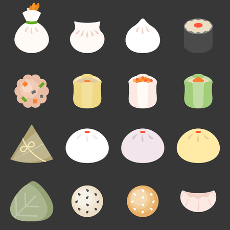 Dim sum cantonese food, such as bun, rice dumpling, sticky rice wrapped in lotus leaf, pork dumpling and beef ball, flat design icon Illustration