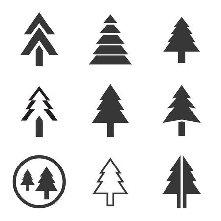 Jeu d'icônes vectorielles pin arbre