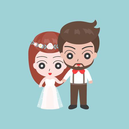 新郎の橋、自由奔放な結婚式の衣装コンセプトは、フラット デザインのベクトルの恋人カップルと手を握って  イラスト・ベクター素材