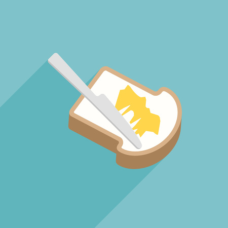butter knife: Slice of toast bread with knife spreading butter or margarine, flat design vector with long shadow