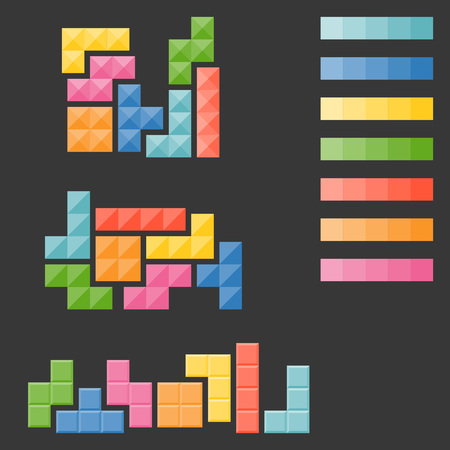 palate: tetris pieces, puzzle in varie type and colour palate in flat design vector