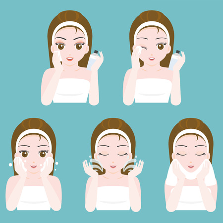 Cute pretty girl use product for washing and cleansing face, flat design vector instruction for dermatology, cosmetic and spa product Vektorové ilustrace