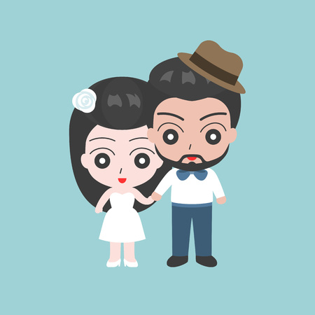 wedding dress: Groom and Bridge holding hand, lover couple in casual dress for wedding concept, flat design vector Illustration